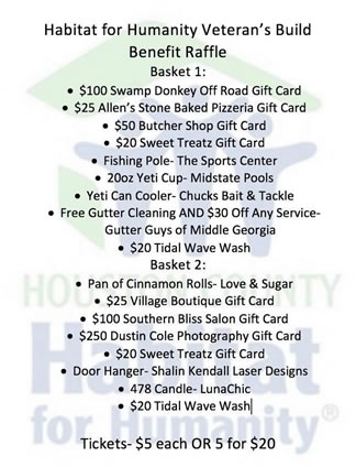 Veterans Build Raffle Prizes